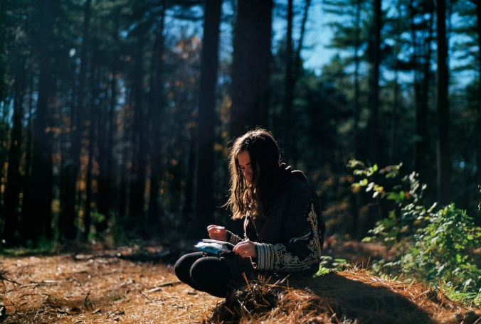 woman in woods