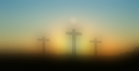 blurred Easter cross